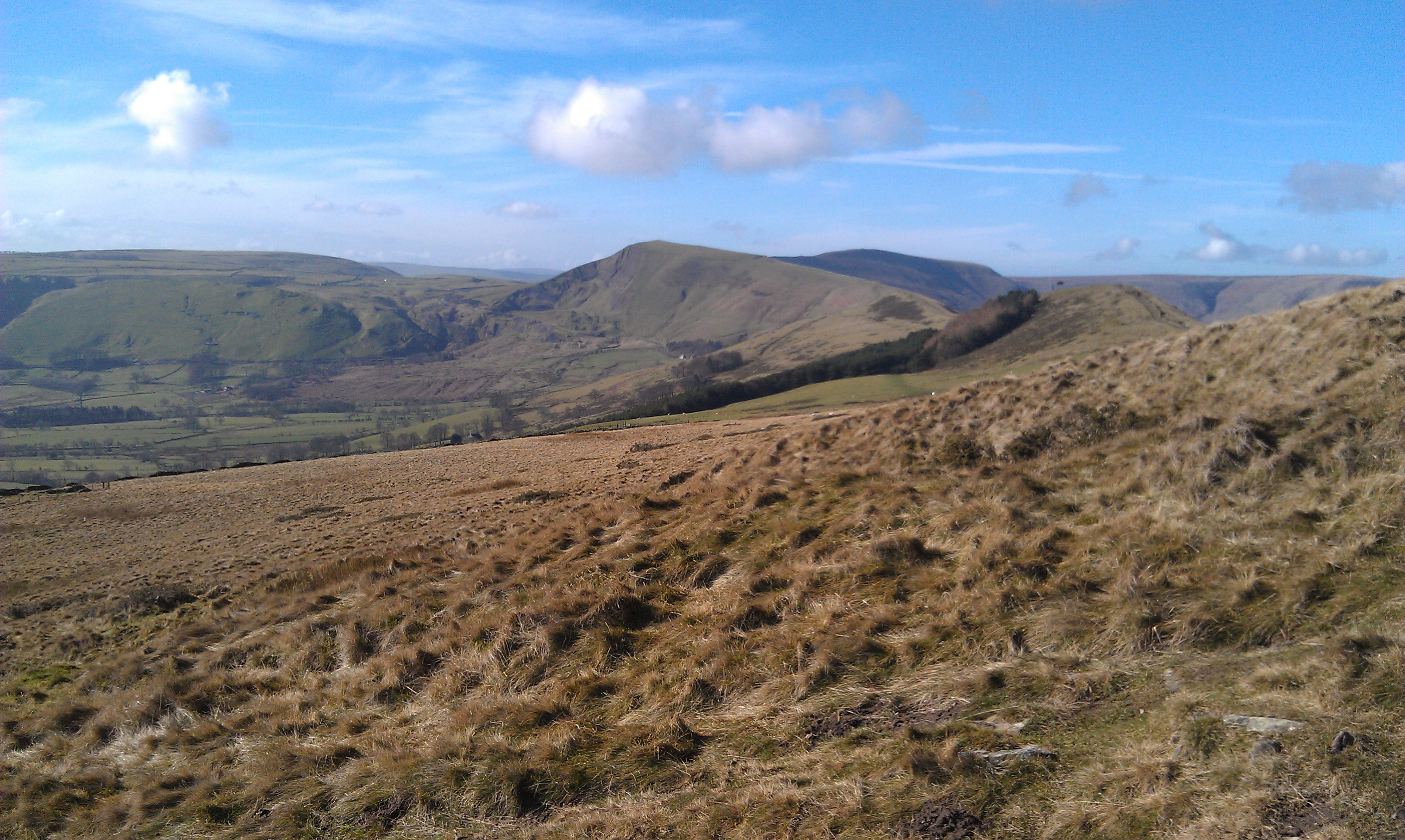 The upper Hope Valley with the Mam Tor ridge on the right and Mam Tor itself at the end